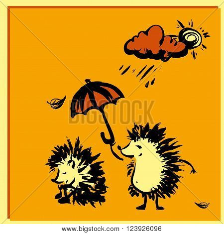 Hedgehog holding an umbrella over another hedgehog rain. hand drawing, vector illustration