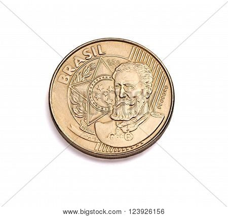picture in the Brazilian currency close of studio twenty five cents