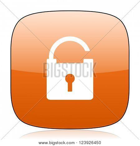 padlock orange square glossy web icon
