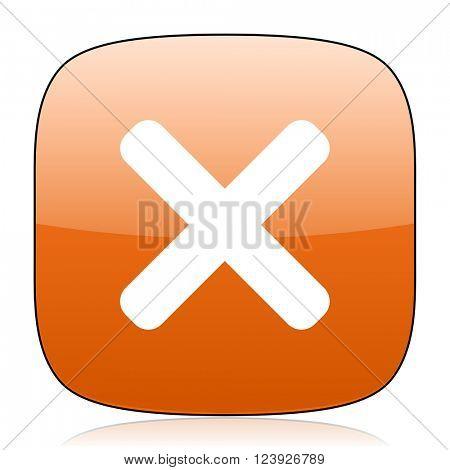 cancel orange square glossy web icon