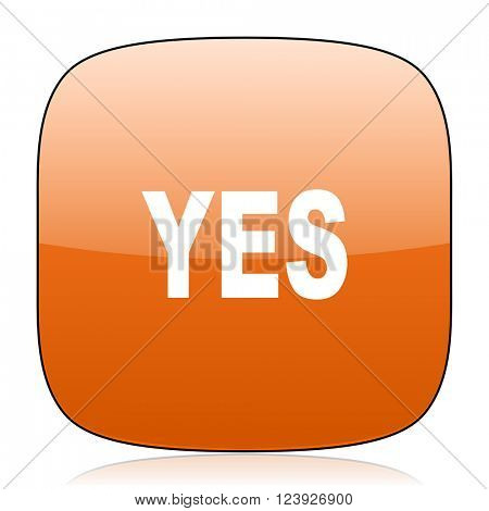 yes orange square glossy web icon