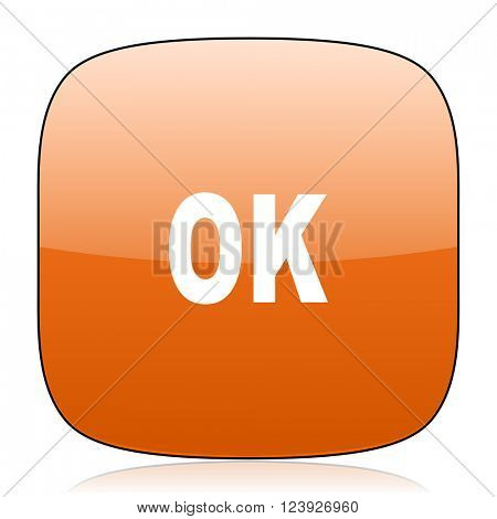 ok orange square glossy web icon