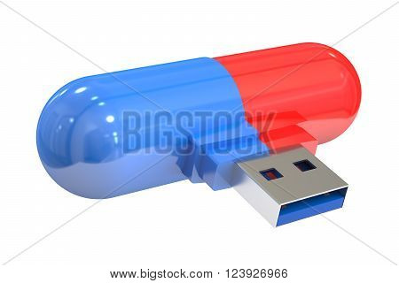 usb flash pill 3D rendering isolated on white background