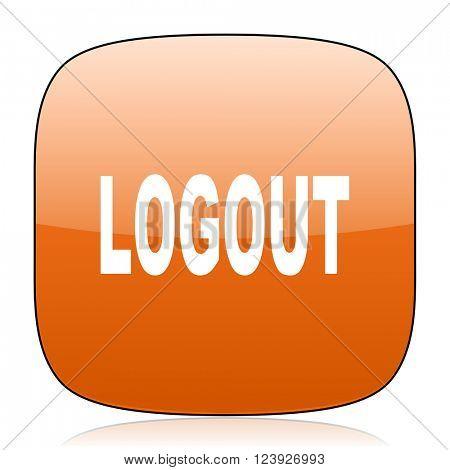logout orange square glossy web icon