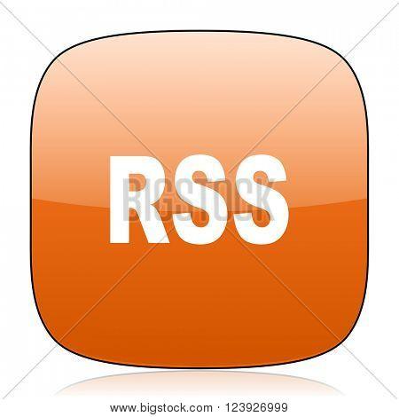 rss orange square glossy web icon