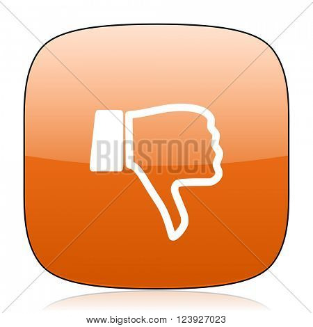 dislike orange square glossy web icon
