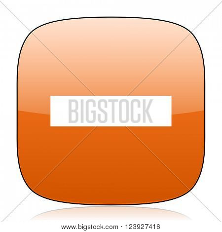 minus orange square glossy web icon