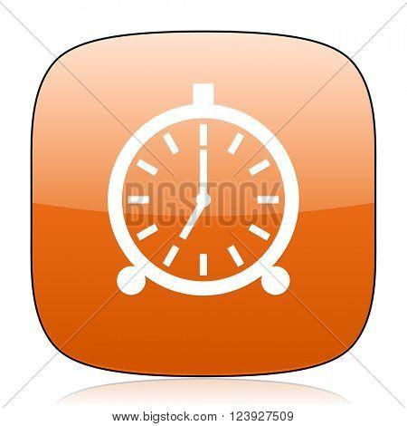 alarm orange square glossy web icon