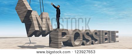 3D illustration oncept conceptual 3D illustration of business man standing over abstract stone impossible text on sky background banner