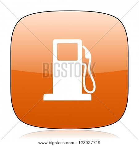 petrol orange square glossy web icon