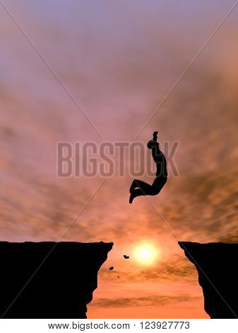 3D illustration concept or conceptual young 3D man or businessman silhouette jump happy from cliff over  gap sunset or sunrise sky background