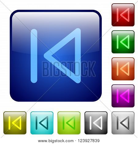 Set of color media prev glass web buttons.