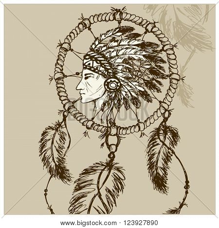North American Indian with Dreamcatcher hand drawn vector