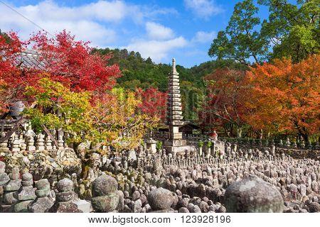 Kyoto, Japan at Adashino Nenbutsu-ji Temple in Autumn.