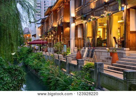 Fuzhou, China at Three Lanes Seven Alleys traditional shopping district.