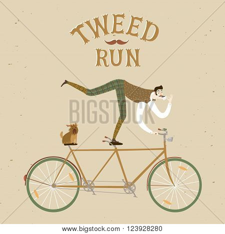 City style elegant man with dog riding standing on a bicycle and drinking tea. Tweed run vintage title. Cartoon cyclist illustration for your design.