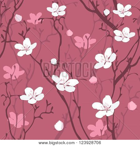 Cherry Tree Blossom seamless pattern vector background. Use for textiles pillow & interior decoration web page background wrapping paper cosmetics package decoration. Layered editable design.