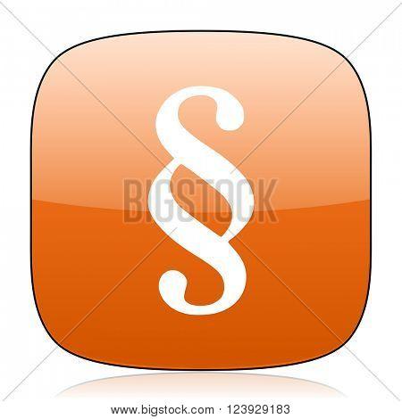 paragraph orange square glossy web icon