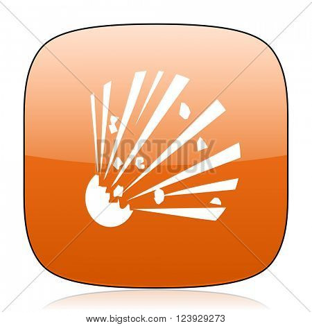 bomb orange square glossy web icon