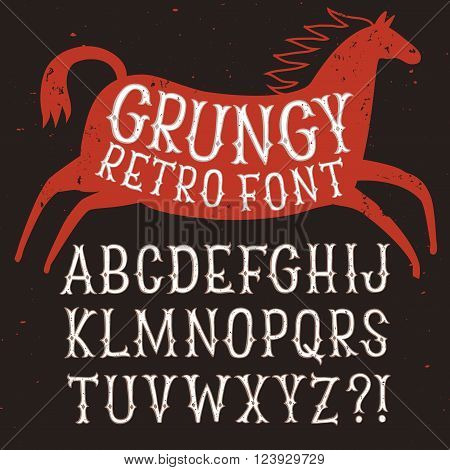 Hand drawn old style vintage font with texture and horse silhouette. Beautiful decorative letters for your design.
