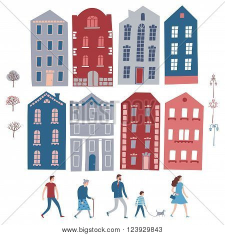 Set of European style colorful cartoon buildings and road. City constructor including different people trees lampposts. Childish style illustrations set for your design.