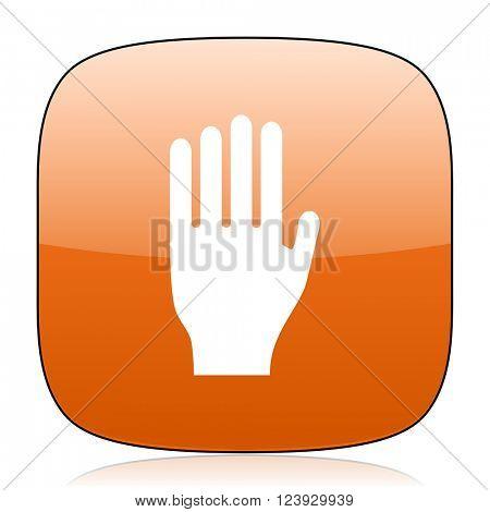 stop orange square glossy web icon