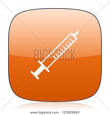 medicine orange square glossy web icon