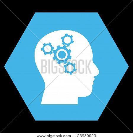 Brain Mechanics vector icon. Image style is bicolor flat brain mechanics icon symbol drawn on a hexagon with blue and white colors.
