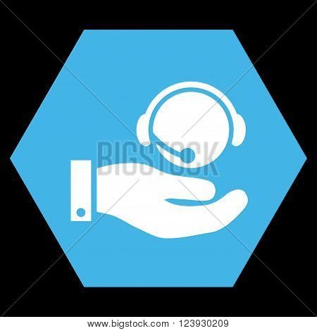 Call Center Service vector pictogram. Image style is bicolor flat call center service icon symbol drawn on a hexagon with blue and white colors.
