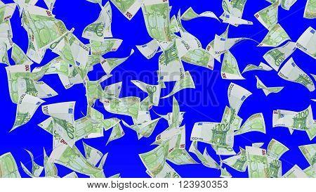 Falling banknotes of euro isolated on chroma key background