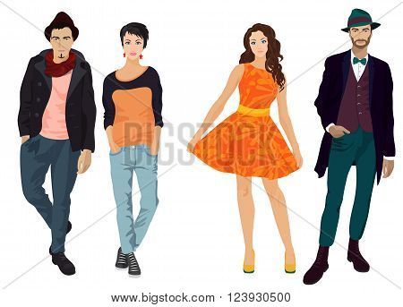 Handsome young guys with beautiful girls in fashion and casual clothes isolated