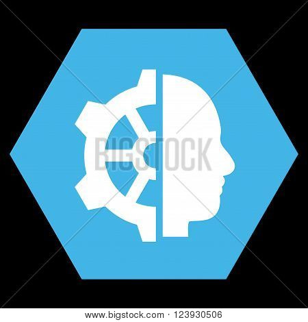 Cyborg Gear vector icon symbol. Image style is bicolor flat cyborg gear pictogram symbol drawn on a hexagon with blue and white colors.