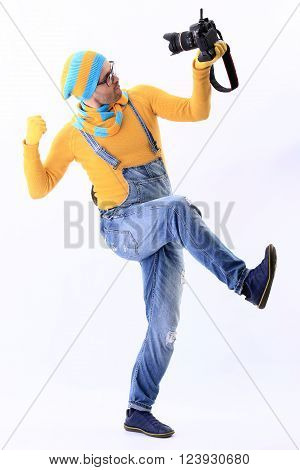 Yellow , Blue , Scarf , Camera, Selfie, Minion, White Background