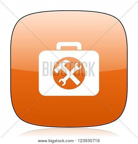 toolkit orange square glossy web icon