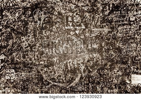 The wall full of messages from lovers in Juliet house Verona Italy.