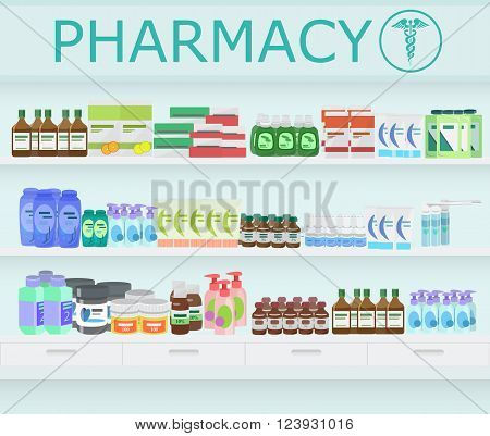 Modern pharmacy  and drugstore interior. Pills and Drugs with vitamins on Pharmacy Shelves