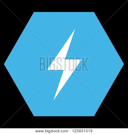 Electricity vector pictogram. Image style is bicolor flat electricity iconic symbol drawn on a hexagon with blue and white colors.