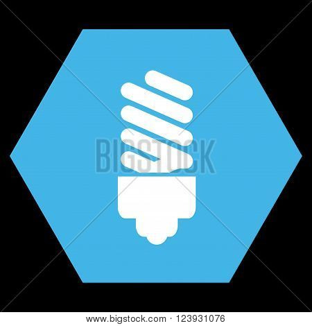 Fluorescent Bulb vector icon. Image style is bicolor flat fluorescent bulb pictogram symbol drawn on a hexagon with blue and white colors.