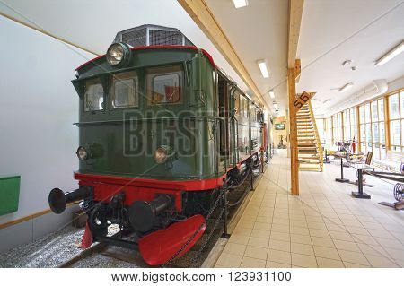 Flam, Norway - May 05, 2013: an old locomotive in Flamsbana museum