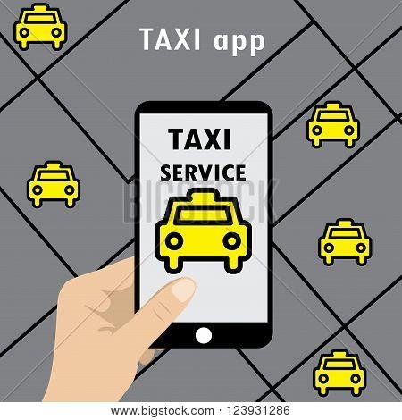 Public taxi online service mobile application. Flat Vector.