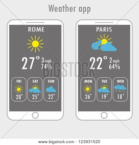 Modern white smartphone with weather app on the screen. Flat design template for mobile apps Vector illustration