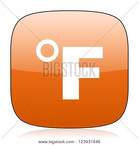 fahrenheit orange square glossy web icon