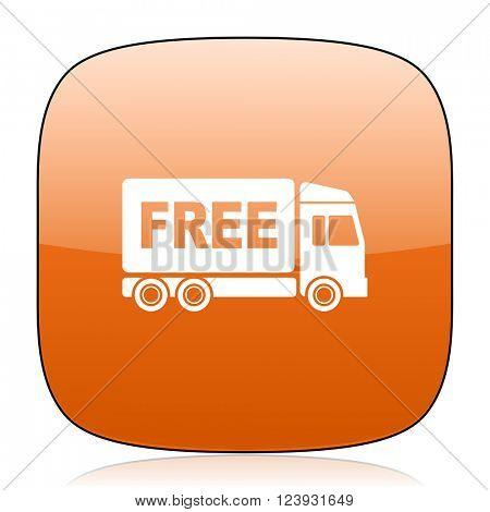 free delivery orange square glossy web icon