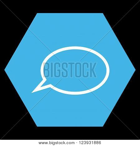 Hint Cloud vector icon. Image style is bicolor flat hint cloud pictogram symbol drawn on a hexagon with blue and white colors.