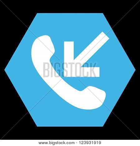 Incoming Call vector icon symbol. Image style is bicolor flat incoming call pictogram symbol drawn on a hexagon with blue and white colors.
