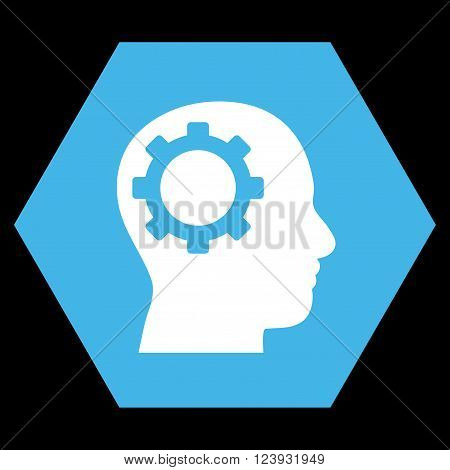 Intellect Gear vector pictogram. Image style is bicolor flat intellect gear icon symbol drawn on a hexagon with blue and white colors.