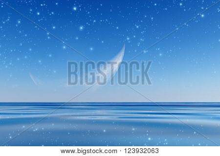 blue half moon over sea with stars, 3D Rendering
