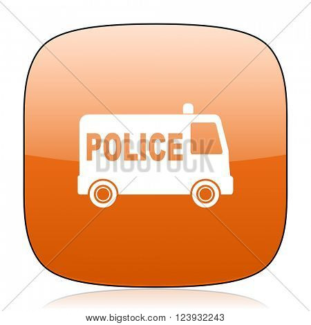 police orange square glossy web icon