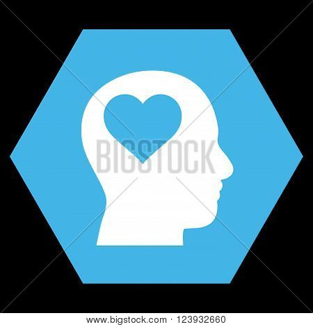 Lover Head vector pictogram. Image style is bicolor flat lover head pictogram symbol drawn on a hexagon with blue and white colors.