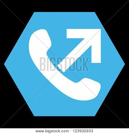 Outgoing Call vector symbol. Image style is bicolor flat outgoing call icon symbol drawn on a hexagon with blue and white colors.